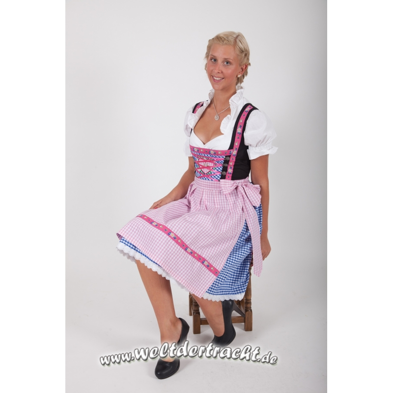 dirndl set 3 tlg blau rosa kariert 39 95. Black Bedroom Furniture Sets. Home Design Ideas