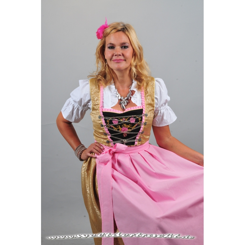 edles dirndl set 3 tlg goldbraun rosa mit bluse und. Black Bedroom Furniture Sets. Home Design Ideas