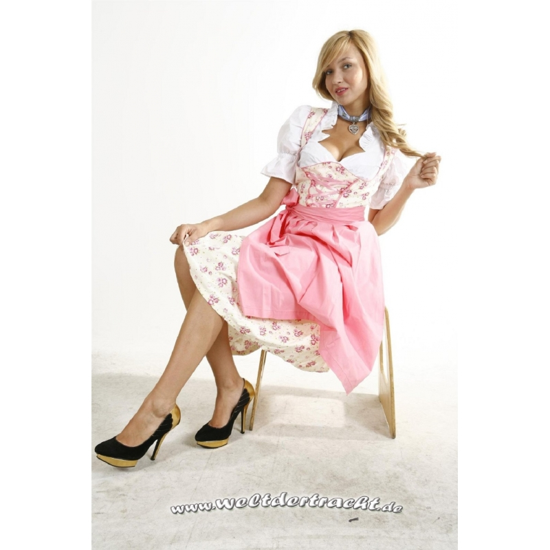 dirndl set 3 tlg rosa weiss gebl mt kleid bluse sch rze ebay. Black Bedroom Furniture Sets. Home Design Ideas