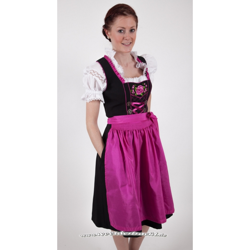 dirndl knielang schwarz pink mit herrlicher. Black Bedroom Furniture Sets. Home Design Ideas