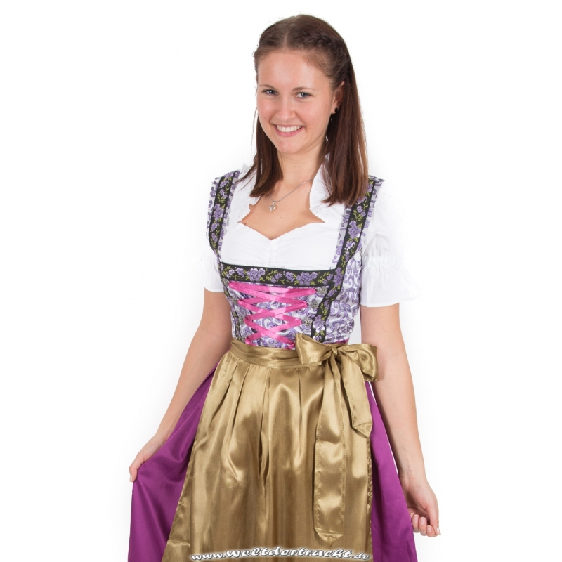 edles dirndl wadenlang 3 tlg violett mit goldfarbene sch rze. Black Bedroom Furniture Sets. Home Design Ideas