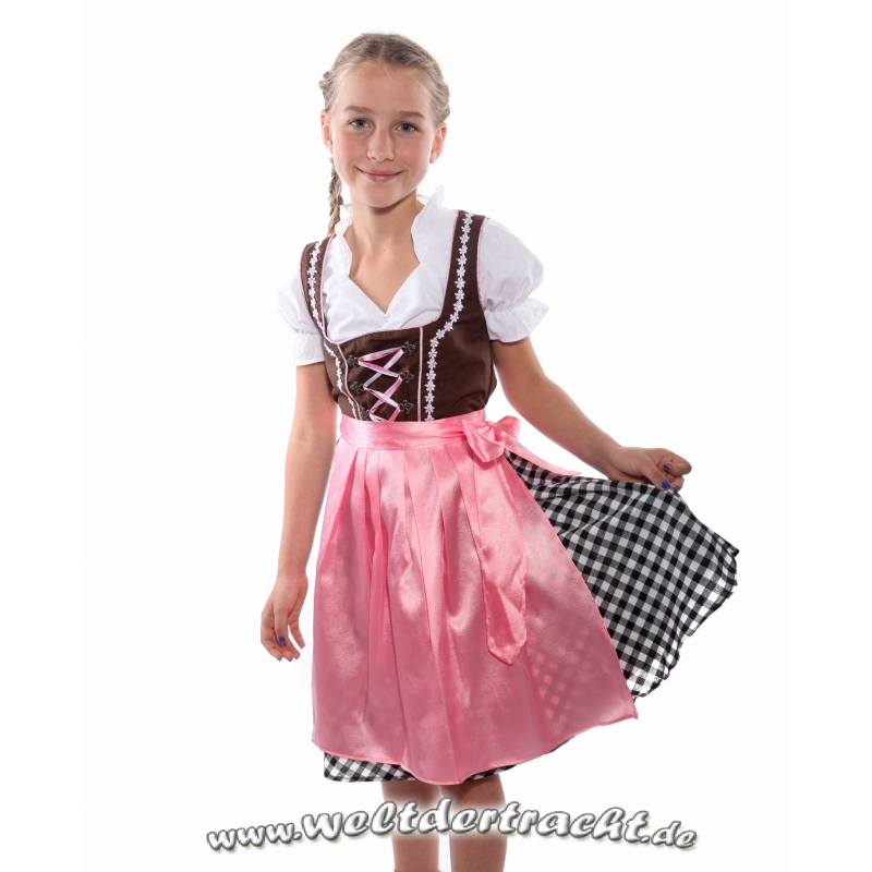 kinderdirndl braun mit schwarz kariertem rock und rosa sch rze 3. Black Bedroom Furniture Sets. Home Design Ideas