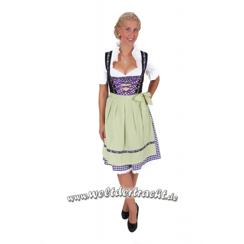 midi dirndl lila kariert bluse und sch rze 3 tlg gr 34 36. Black Bedroom Furniture Sets. Home Design Ideas