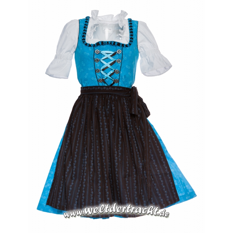 midi dirndl blau mit feinem froschgoscherl und schwarze sch rze. Black Bedroom Furniture Sets. Home Design Ideas