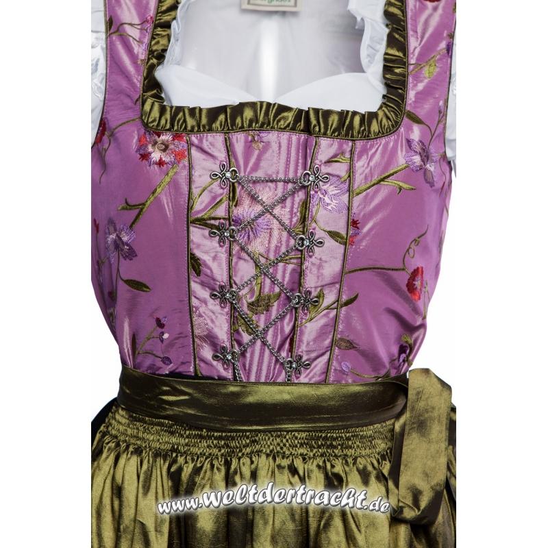 midi dirndl lila mit blumen bestickt schwarzem rock und dunkelgr ne. Black Bedroom Furniture Sets. Home Design Ideas