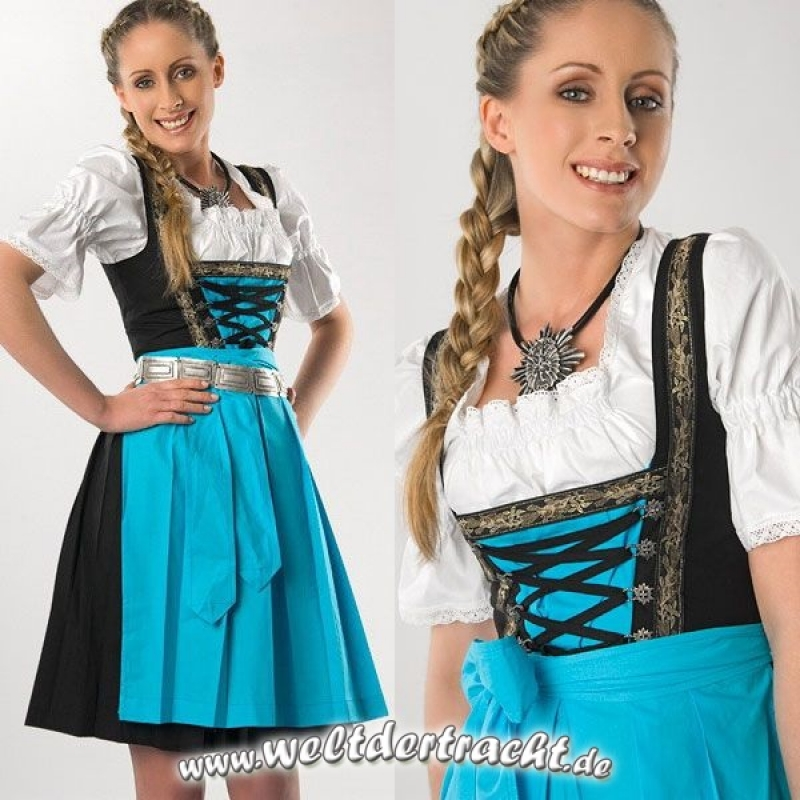dirndl set 3tlg schwarz blau weiss kleid bluse und sch rze. Black Bedroom Furniture Sets. Home Design Ideas
